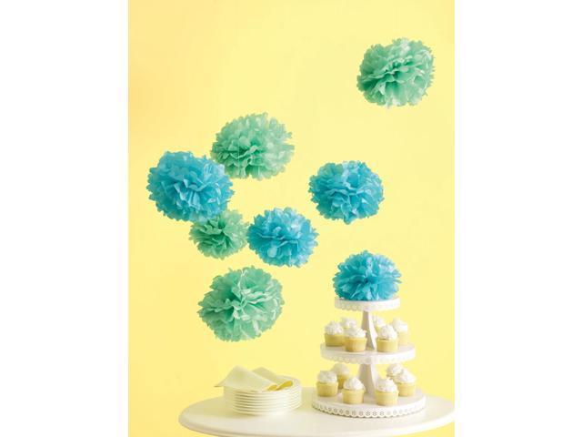 Celebrate Decor Pom Poms 8/Pkg-Blue