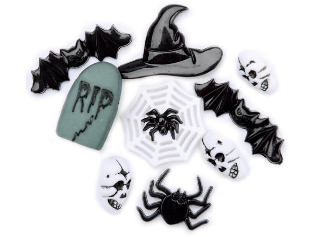 Favorite Findings Holiday Buttons-Halloween Night 8/Pkg