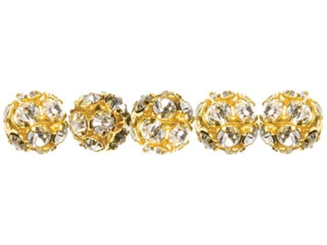 Jewelry Basics Metal Beads 6mm 5/Pkg-Gold & Clear Rondelle