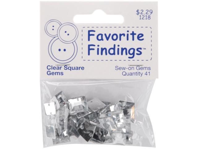 Favorite Findings Sew-On Square Gems-Clear 41/Pkg