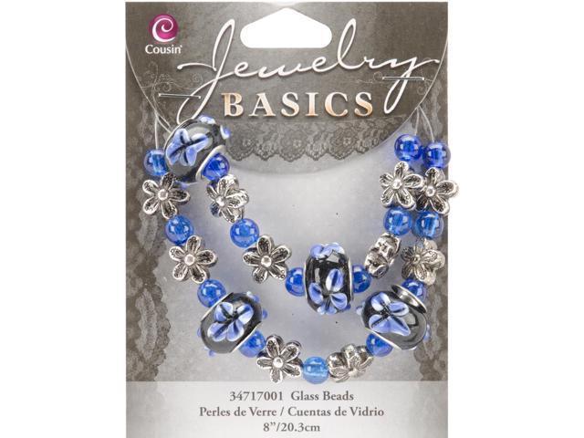 Jewelry Basics Glass Bead Strands-Blue Fancy Round Mix 8