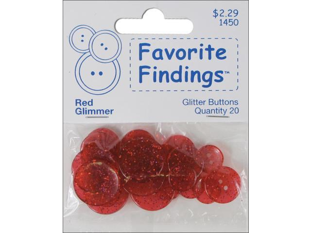 Favorite Findings Glitter Buttons-Red Glimmer Transparent 20/Pkg