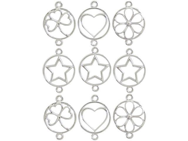 Jewelry Basics Metal Charms-Silver Shapes 9/Pkg
