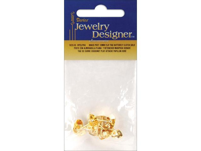 Flat Pad Earring Posts & Butterfly Clutches 10mm 8/Pkg-Gold-Plated