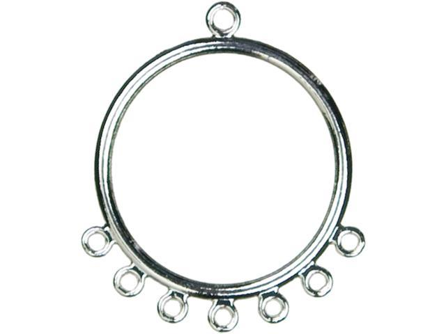 Jewelry Basics Metal Findings 8/Pkg-Silver Ear Hoops W/Loops
