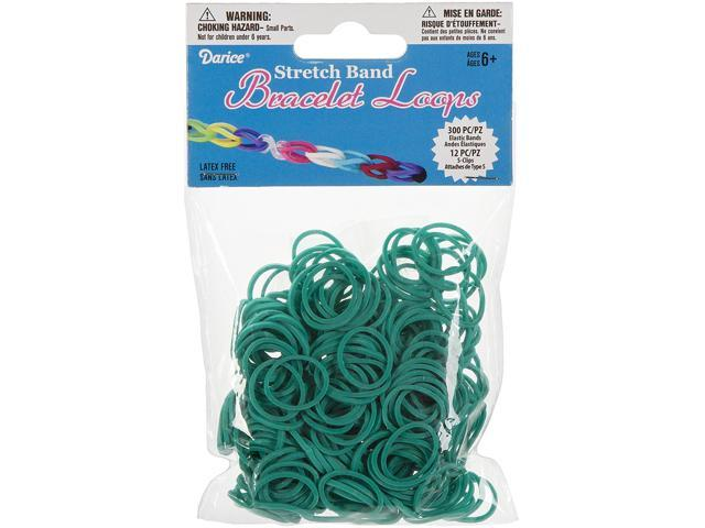 Mini Rubber Bands 300/Pkg W/12 Clips-Turquoise