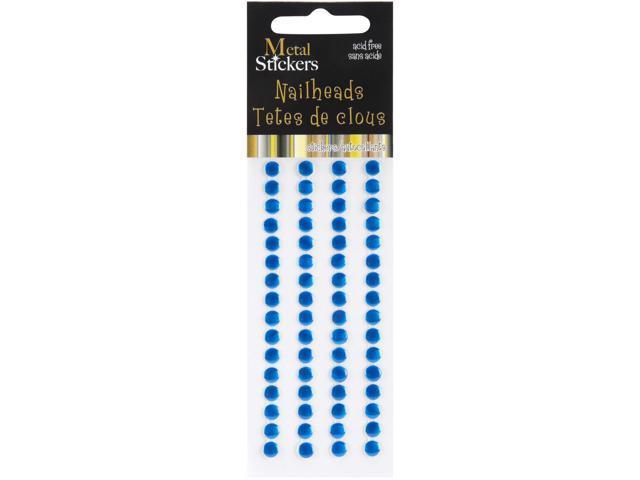 Metal Stickers Nailheads 5mm Round 64/Pkg-Blue
