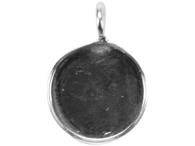 Base Elements Circle Pendant 19mm 1/Pkg-Silver Overlay