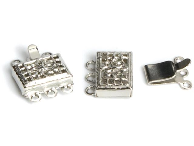 Jewelry Basics Metal Findings 6/Pkg-Silver 3-Strand Box Clasps