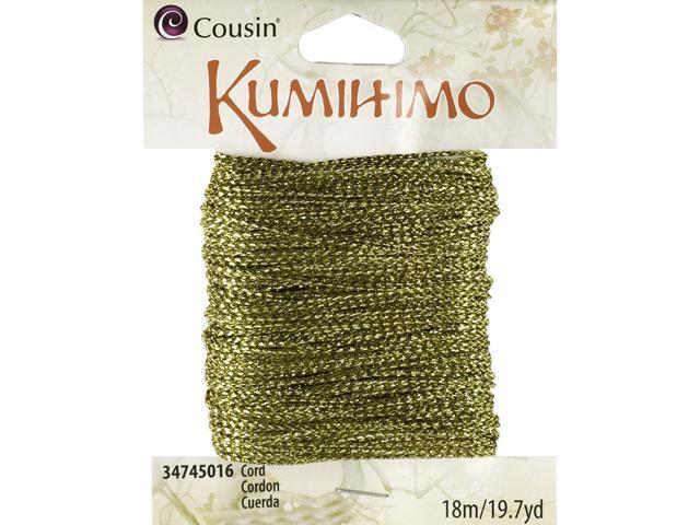 Kumihimo Cord .5mmX19.7yd-Metallic Gold