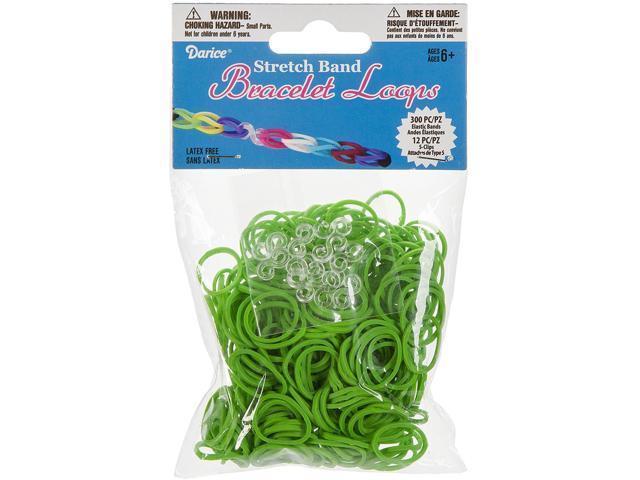 Mini Rubber Bands 300/Pkg W/12 Clips-Green