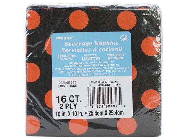 Beverage Napkins 16/Pkg-Orange & Black Decorative Dots