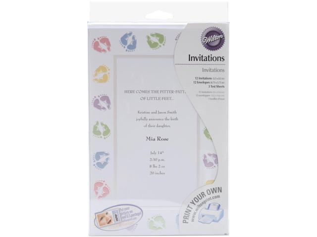 12 Wilton BABY FEET INVITATIONS Wedding Shower or Birth