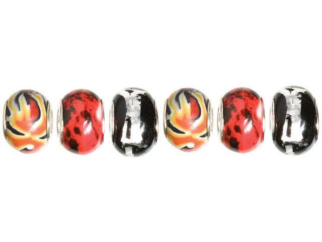 Trinkettes Glass, Metal & Clay Beads 6/Pkg-Black & Red Speckle