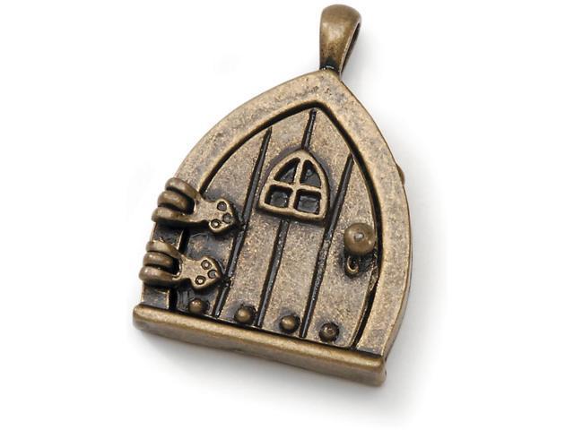 Fairy Door Metal Charm 1/Pkg-Antique Bronze W/Window