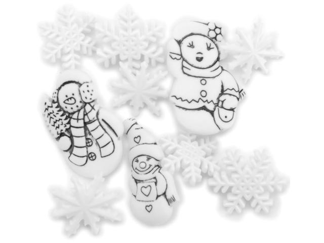 Favorite Findings Holiday Buttons-Snow Family 9/Pkg