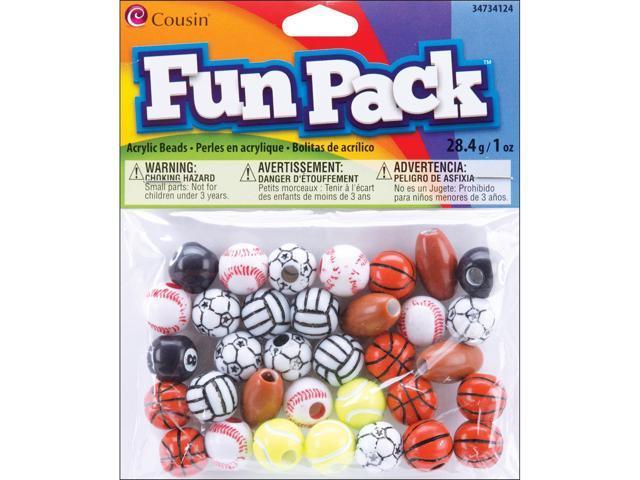 Fun Pack Acrylic Sports Beads 1oz-Assorted Balls