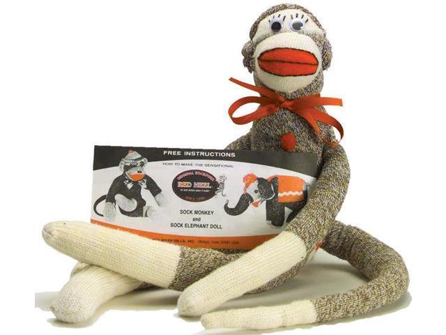 Red Heel Monkey Socks 2 Pairs-Large Brown Heather