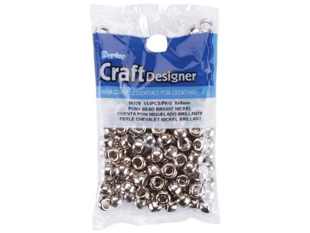 Pony Beads 6mmX9mm 144/Pkg-Metallic Nickel