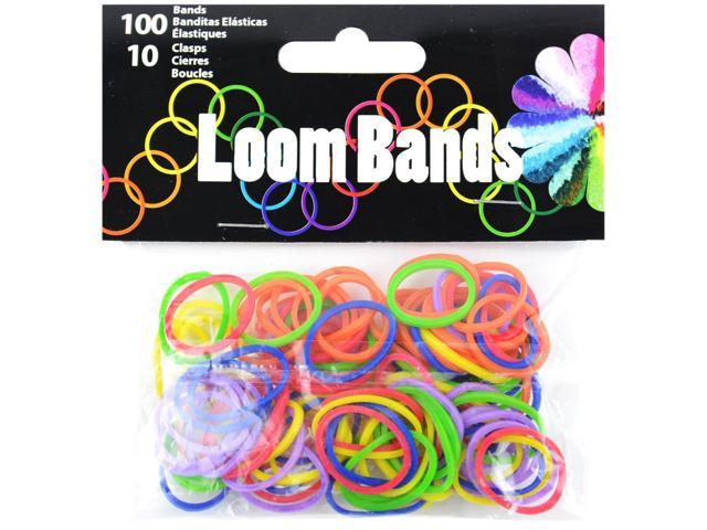 Loom Bands 100/Pkg W/10 Clasps-Primary Assortment