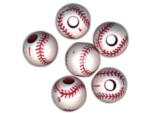 Sports Ball Beads 12mm-Baseball 12/Pkg