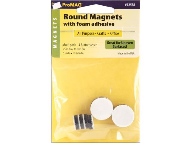 ProMag Round Magnets W/Foam Adhesive-(4) .5