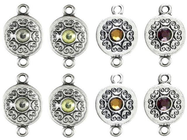 Jewelry Basics Metal Connectors-Black & Silver Rounds W/Rhinestone 8/Pkg