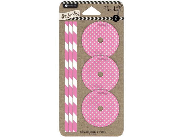 Lids & Straws 3/Pkg-Pink Dot