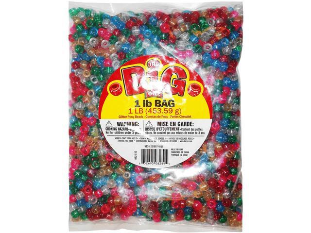 Pony Beads 6mmX9mm 1lb-Transparent Glitter