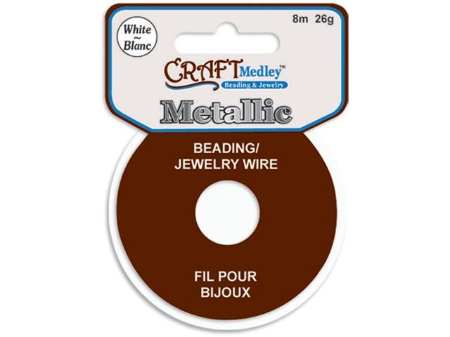 Jewelry Beading Wire 26 Gauge 26'-White