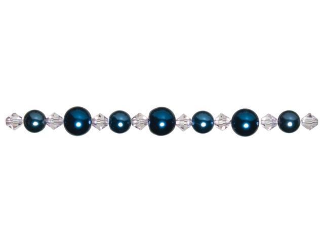 Jewelry Basics Pearl & Crystal Bead Mix 8mm & 10mm 51/Pkg-Blue Round