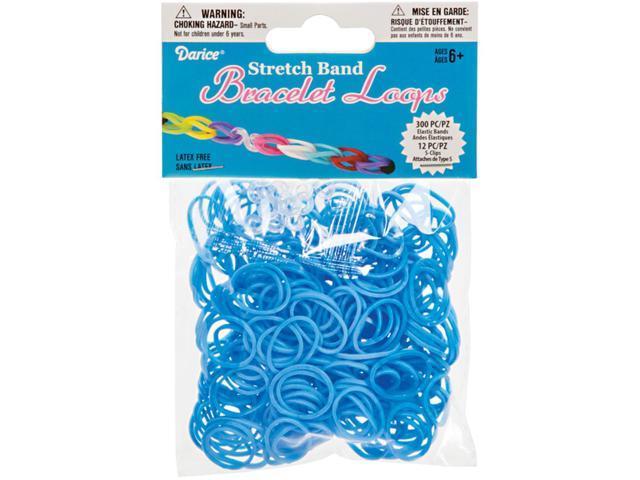 Stretch Band Bracelet Loops 300/Pkg W/12 Clips-Light Blue