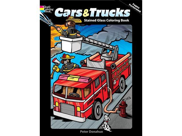 Dover Publications-Cars & Trucks Stained Glass Clr Bk