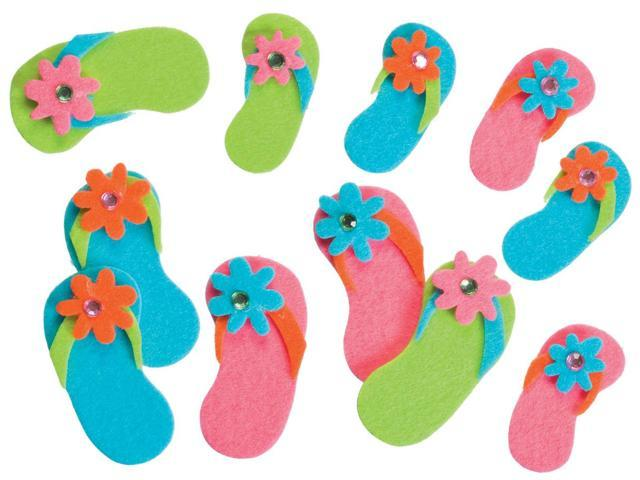 Felties Stickers 20/Pkg-Flip-Flops W/Gems