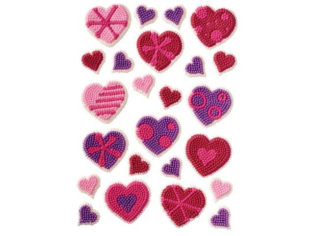 Icing Decorations 24/Pkg-Patterned Hearts