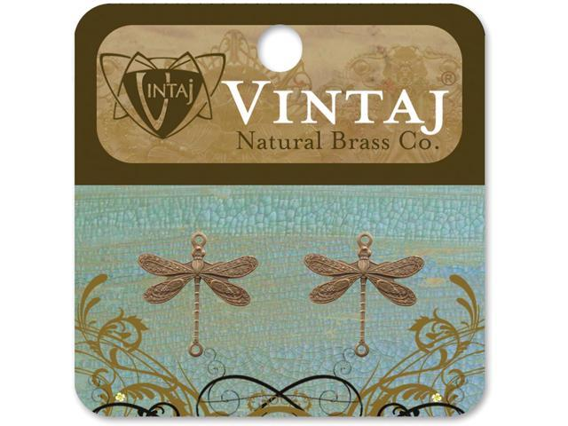 Vintaj Metal Accents-Dragonflies 17mmX17mm 2/Pkg