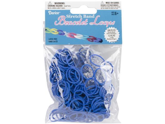 Mini Rubber Bands 300/Pkg W/12 Clips-Royal Blue