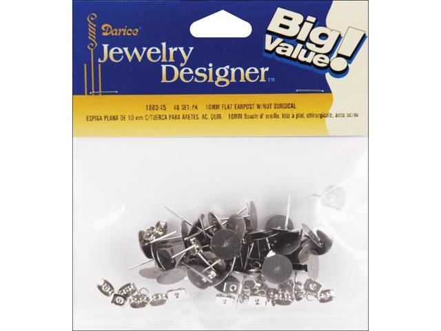 Flat Pad Earring Posts & Butterfly Clutches 10mm 30/Pkg-Surgical Steel