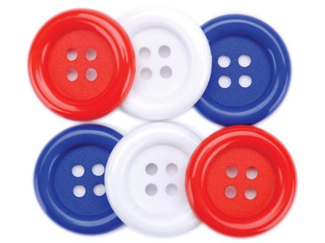 Favorite Findings Big Buttons 6/Pkg-Red, White & Blue