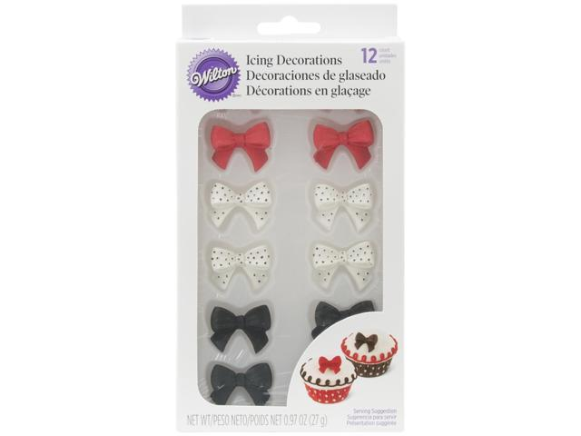 Royal Icing Decorations 12/Pkg-Black, Red & White Bows