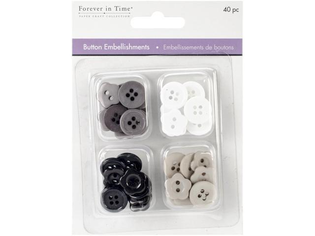 Button Embellishments 15mm 40/Pkg-Classic