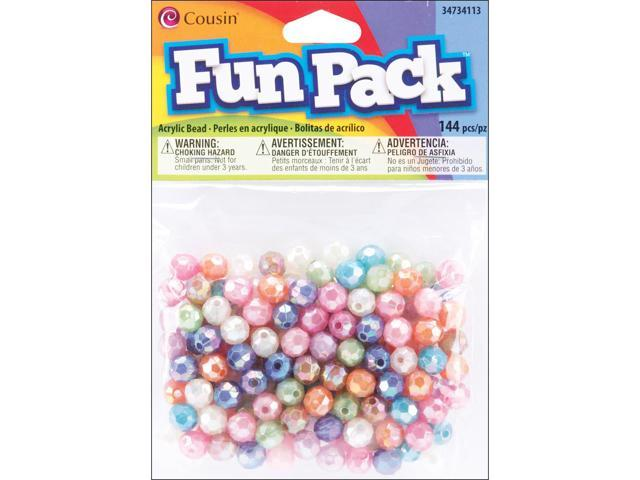 Fun Pack Acrylic Faceted Beads 144/Pkg-Assorted Pastel