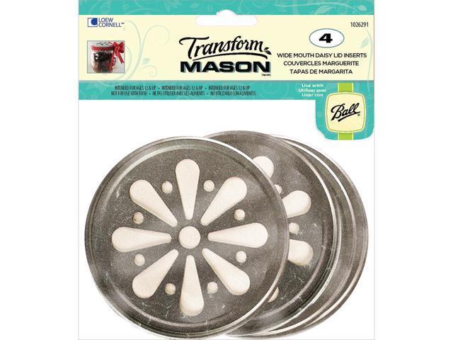 Transform Mason Lid Inserts 4/Pkg-Silver Daisy - Wide Mouth