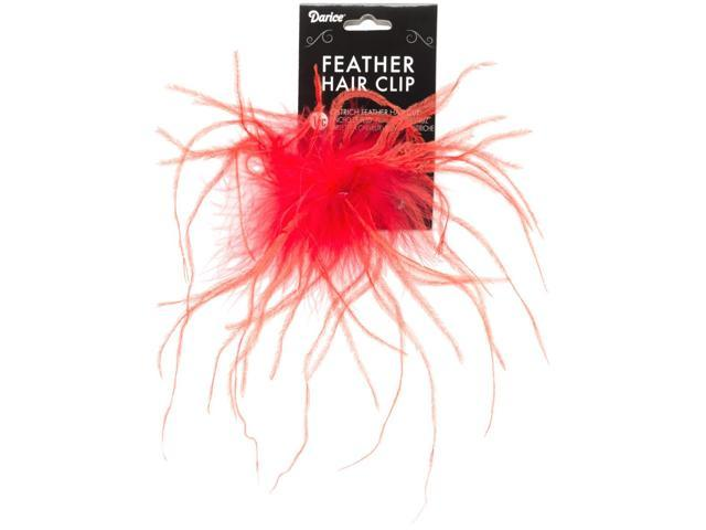 Ostrich Feather Hair Clip-Red