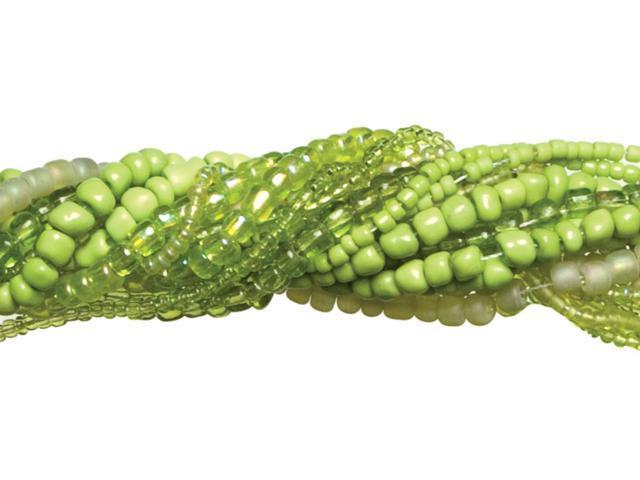 Jewelry Basics Glass Seed Bead Mix 90g-Lime Green