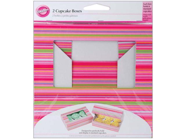Cupcake Boxes-6 Cavity Snappy Stripes 2/Pkg