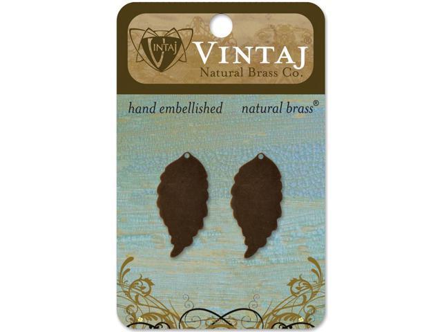 Vintaj Metal Blanks-Ambrosial Leaves 30mmX14.5mm 2/Pkg