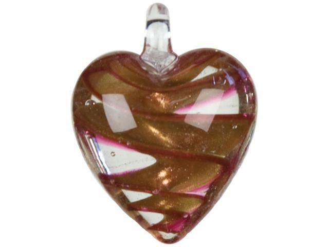 Jewelry Basics Glass Accent 1/Pkg-Copper & Rose Swirl