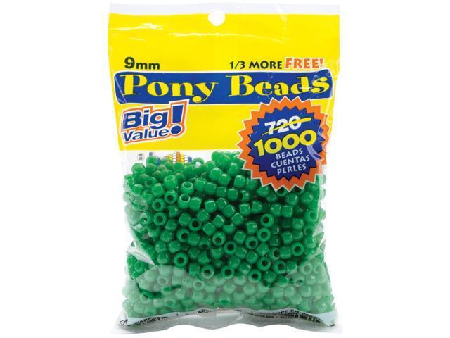 Pony Beads 6mmX9mm 1,000/Pkg-Opaque Green
