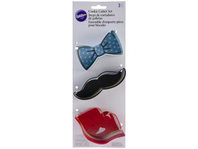 Metal Cookie Cutter Set 3/Pkg-Lips, Mustache & Tie